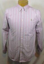 RALPH LAUREN Mens Long Sleeve Red White Blue Striped Dress Shirt Size XLarge XL