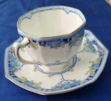 1 x Vintage 1930s Royal Doulton Deco Arvon Blue Coffee Cup & Saucer