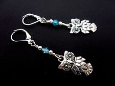 A PAIR OF TIBETAN SILVER DANGLY OWL & BLUE CRYSTAL LEVERBACK HOOK EARRINGS. NEW.