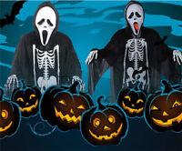 Black Skeleton Scary Halloween Costume Grim Reaper Ghost Scream  Clothes