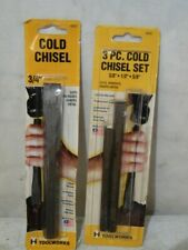 """Baltimore Tool Works 3 Piece Cold Chisel Lot Alloy Steel 3/4"""" 3/8"""" 1/2"""" USA Made"""