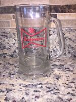"THICK BUDWEISER 12 OZ GLASS BEER MUG ""KING OF BEERS"""