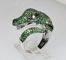 18k WG GREEN TSAVORITE GARNET DIAMOND ALLIGATOR REPTILE NATURE ANIMAL RING