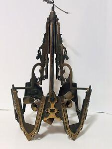 "Vtg 17"" Art Nouveau Victorian Brass Metal Ceiling Light Fixture Wired Gothic"