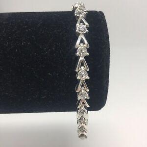 Avon Silvertone V Link Tennis Bracelet w/ Rhinestone Crystals Sparkly Bling