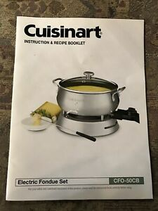 Cuisinart Instruction and Recipe Booklet Electric Fondue Pot CFO-3SS