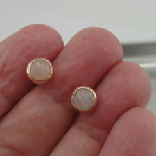 Hadar Designers Handmade 14k Yellow Gold Fil 7mm Rose Quartz Stud Earrings (v