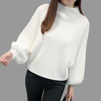 Women Turtleneck Batwing Sleeve Pullovers Knitted Jumper Tops Sweaters