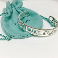 Tiffany & Co Atlas Numeric Pierced Silver Narrow Cuff Bracelet | Authentic