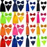 Men's Satin Solid Color Skinny Wide Tie Necktie Bowtie Pocket Square Ties Set