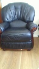 Black leather 3 piece suite And Two Chairs