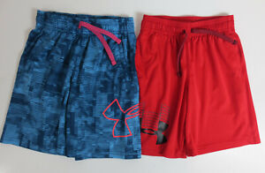 LOT Under Armour Athletic Shorts Boys Size YXS Youth XS Blue Red