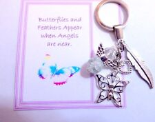Butterflies and Feathers Appear when Angels are Near Memorial Key Ring Gift