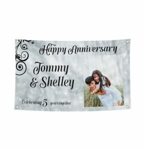 150 x 90 CM Personalised Banner For Anniversary Added Text & Photos For Parties