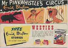WEETIES AUSTRALIA CEREAL GIVEAWAY PROMO ENID BLYTON PINK-WHISTLE CIRCUS COMIC VG