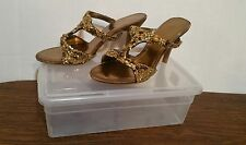 No Name Brand -Beautiful Bronze/Gold Jeweled Open Toe Slides Sandals Heels Sz 11