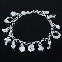 Damen Silber Armreif Armkette Kette Armband Anhänger Schmuck Mode Geschenk