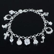 Damen NEU Bettelarmband Sammelarmband Silber Armband 13 Anhänger