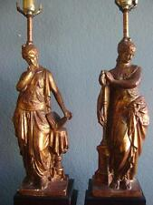 VINTAGE FIGURAL TABLE LAMPS MUSE BRASS GREEK ROMAN GODDESS NEO CLASSICAL COLUMN