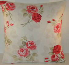 "Clarke and Clarke Nancy in Rouge Roses and Flowers 16"" Cushion Cover"