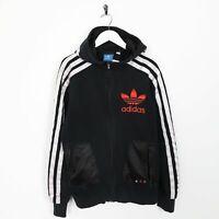 Vintage ADIDAS ORIGINALS Big Logo Zip Up Hoodie Sweatshirt Black | Medium M