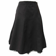 Women's Karen Millen Black 50's Style Mesh Trim Hem Full Fit Flare Skirt 12 UK