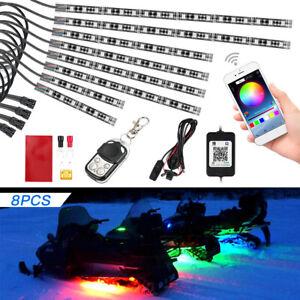 8x LED Neon Lights Strip Underglow RGB 15 Colour Motorcycle ATV APP Control Lamp