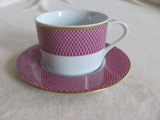 Block Spal Portugal - Sunset- Design on Raspberry Rim- Cup & Saucer