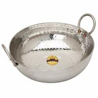 Stainless Steel Hammered Wok Deep Frypan Kadai Frying Pan 1 & 2 Lt Designer Pot