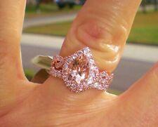Engagement Ring Band 10K Rose Real Gold 3.00 ct Pear Cut Morganite Bridal Set