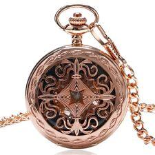 Copper Hand Wind Mechanical Pocket Watch Roman Numerals Skeleton Pendant Chain