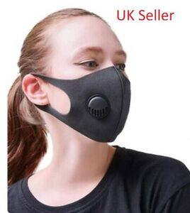 20 x Black Reusable Stretchy Foam Material Nose, Mouth Face Masks with Air Vent