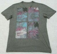 Marc Ecko Gray Cotton Polyester Short Sleeve V-Neck Tee T-Shirt Size Medium H5
