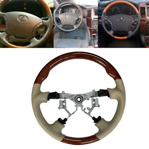 Tan Leather Steering Wheel for 03-07 Toyota Lexus LX470 GX470 Highlander Hiace