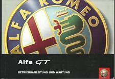 ALFA ROMEO GT Betriebsanleitung 2004 Bedienungsanleitung Handbuch Bordbuch BA