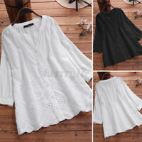 UK Women Blouse Embroidery Loose Casual Blouse Basic Cotton Hollow Out Shirt Top