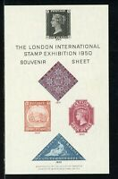Great Britain OS #172 MNH S/S London Int'l Stamp Exhibition 1950 PENNY BLACK $$