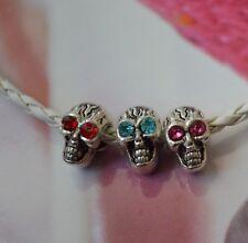 Skull Eyes Birthstone Bead Spacer Swarovski Elements Silver European Charm