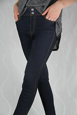 402 Sexy Leggings Blau Jeans Fashion Strassstein Jeanslook Leggins Hose Tasche