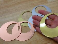 """Lot of 6 Metal stamping blanks 3"""" Round Pendants 24 gauge. silver, copper, brass"""