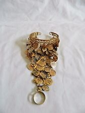 Egyptian Belly Dance Anklet Gypsy Gold Plated Coins Pyramid shaped 3""