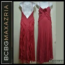BCBG Max Azria Red Ruffle Silk Open Back Removable Flower Brooch Gown ~ 6 M3020