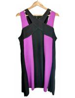 Beme Womens Black Purple Flare Party Evening Plus Size Dress large