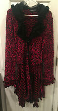 NWT Pretty Angel Red & Black Ruffle Lace Duster Long Sweater L Large Christmas