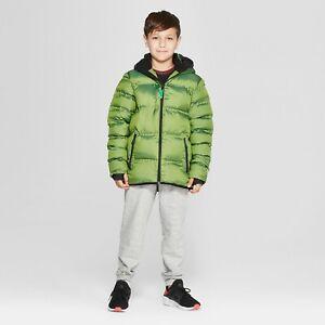 Champion C9 Boy's Hooded Green Puffer Jacket / Coat XS 4-5 New