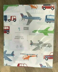 Pottery Barn Kids Organic Brody FULL sheet set truck airplane transportation