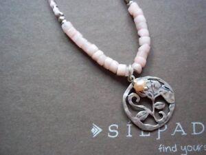 Silpada Flirt Alert Pink Soapstone Seed Bead Sterling Necklace N2192 Pearl