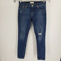 Levi's 711 Altered Jeans 29x30 Skinny Ripped Distressed Dark Blue Wash Stretch