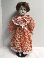 "Vintage Antique French Or German Doll 18"" Bisque Porcelain Cloth Body Doll"