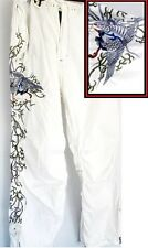 Maharishi Snowpants Size L Cotton Pants White Blue Embroidered Exc. Cond.